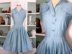 1950s Day Dress / Vintage 50s Tabak California Baby Blue Cotton Sateen Full Skirt Dress