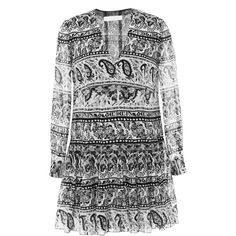 This black-and-white Thakoon Addition dress comes in a bohemian-inspired paisley print and features a v-neck, sheer bracelet-length sleeves, and a softly gathe…