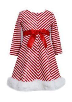 Bonnie Jean  Candy Cane Stripe Santa Dress Girls 7-16