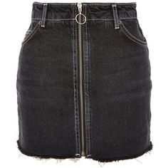 Topshop Petite Zip Through Denim Mini Skirt (670 MXN) ❤ liked on Polyvore featuring skirts, mini skirts, black, short skirts, full length denim skirt, zipper skirt, full length skirt and denim miniskirt