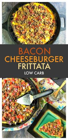 Low Carb Cheeseburger Frittata - a fun and filling dinner with all the taste of a burger and only 1.3g net carbs per slice!