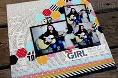 nutmeg creations: Happy Happy Girl scrapbook page - Artisan WOW by Cindy Schuster Mini Scrapbook Albums, Mini Albums, Scrapbook Pages, Scrapbooking Ideas, Scrapbook Layouts, Stampin Up, Hexagons, Smash Book, Happy Girls