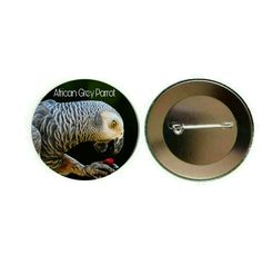 African Grey Parrot 55mm Button Pin Badge (PG-0688)