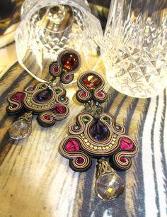 Glow jewel tones earrings by Dori Csengeri Soutache Earrings, Gemstone Earrings, Ring Earrings, Clip On Earrings, Diy Fashion, Fashion Jewelry, Jewel Tones, Geraniums, Beaded Embroidery