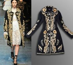New Women's Fashion Wool Gold Line Embroidered Jacket Retro Trench Parka Coat Sz in Clothing, Shoes & Accessories, Women's Clothing, Coats & Jackets | eBay