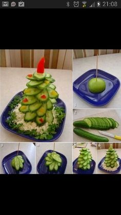 Tree from a cucumber! Replace red thing with star shaped from red pepper. Kerstdiner
