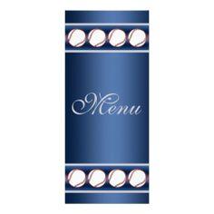 Baseball Ball Player Fan Wedding Menu Blue Grey Custom Invitation