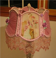 Victorian Shade 17 Marie Antoinette Style Pink Original Design By KERRI-Victorian, Shade, handsewn, beads, glass, sugared, Vintage, Antique,Old, Pearls, Roses, Pink,