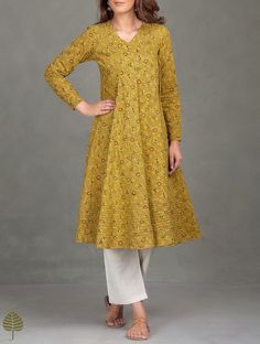 Buy Mustard Black Madder Ajrak Printed Cotton Angrakha Kurta Women Kurtas Online at Jaypore.com
