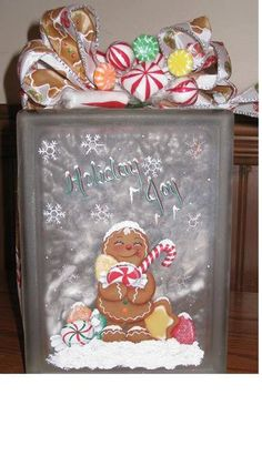 Lighted Gingerbread Glass Block by GrannyKstreasures on Etsy