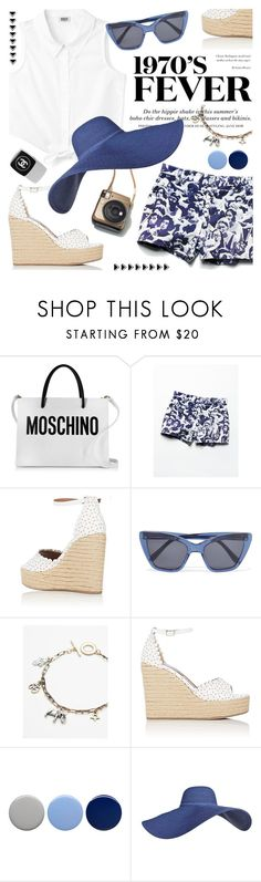"""""""Blue & White"""" by cilita-d ❤ liked on Polyvore featuring Moschino, Free People, Tabitha Simmons, H&M, Prism, Chanel and Burberry"""