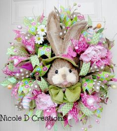 Spring Wreath, Bunny Wreath, Front Door Wreath, Silk Floral Wreath ...