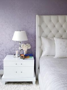 {master bedroom} violet wallpaper