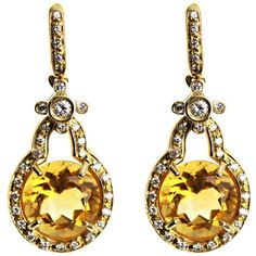Kiki McDonough Diamond, citrine and gold earrings (46.450 ARS) ❤ liked on Polyvore featuring jewelry, earrings, accessories, brincos, jewelry - earrings, yellow gold earrings, diamond circle earrings, diamond earrings, yellow gold diamond earrings and citrine jewelry