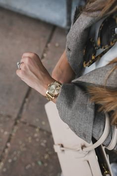 Movado gold watch and Herringbone blazer #falltrend #fallstyle