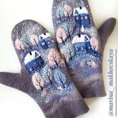 Sweater Mittens, Crochet Mittens, Wool Gloves, Mitten Gloves, Wool Embroidery, Embroidery Designs, Nuno Felting, Needle Felting, Shibori