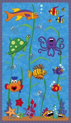 tela de panel con animales marinos Under the Sea Heidi Pridem - Patchwork Infanti Fish Quilt Pattern, Boys Quilt Patterns, Applique Patterns, Applique Quilts, Quilt Baby, Rag Quilt, Patch Quilt, Ocean Quilt, Ocean Fabric