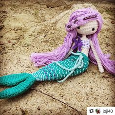 #Repost @joji40 with @repostapp ・・・ Ava mermaid - made on the #beach in #Cornwall - im going to have a very #happy little girl ❤️ pattern by @lydiawlc  Beautiful mermaid Ava, love her so much!
