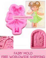 Fairy mold, Fairy mould, Fondant fairy, Gumpaste fairy, Fairy cake, Free worldwide shipping