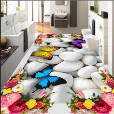 Photo floor wallpaper stereoscopic roses butterfly floor PVC waterproof floor Home Decoration Decor, Floor Decal, Floor Art, 3d Floor Art, Floor Design, 3d Flooring, Butterfly Decorations, Floor Wallpaper, Floor Murals