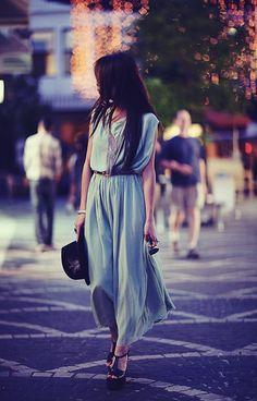 Blue long dress summer look street style Fashion Mode, Look Fashion, Womens Fashion, Dress Fashion, City Fashion, Street Fashion, Runway Fashion, Fashion Outfits, Fashion Trends