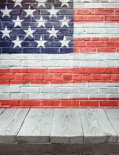 USA Flag Printed On Wall With Wood Floor Photography Fabric Backdrop