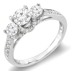 Carat (ctw) Gold Round Diamond 3 Stone Ladies Vintage Style Bridal Engagement Ring 1 CT This lovely diamond engagement rings feature ct. Round Diamond Engagement Rings, Three Stone Engagement Rings, Silver Engagement Rings, Engagement Ring Cuts, Engagement Jewelry, Engagement Photos, Wedding Jewelry, Diamond Rings With Price, Wedding Rings Vintage