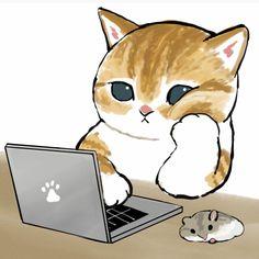 Kitten Drawing, Cute Cat Drawing, Cute Cartoon Drawings, Cute Kawaii Drawings, Cute Animal Drawings, Simple Cat Drawing, Kittens Cutest, Cats And Kittens, Cute Cats