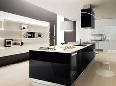 Special Characteristic in Modern House Decor: Fancy Modern House Decor In Compact Mini Kitchens Black Kitchen Cabinets Also Modern Floor Lamps As Well White Wall Mounted Shelves As Photo Frame Decorations ~ surrealcoding.com Interior Inspiration