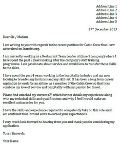 sample cover letter for flight attendant