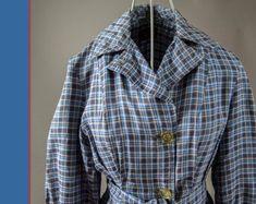 Vintage 1950's Ladies Light Weight Coat/ Dress, Retro Ladies Plaid Lightweight 50's Dress, Vintage 50's Light Weight Coat
