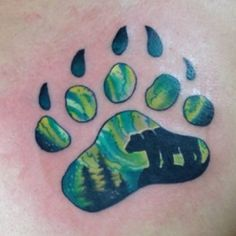 Kyle Allen Grover bear print with the northern lights. benchmark tattoo and gallery, duluth minnesota