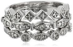 Sterling Silver Diamond Accent 3 Piece Stackable Ring -- Be sure to check out this awesome product.