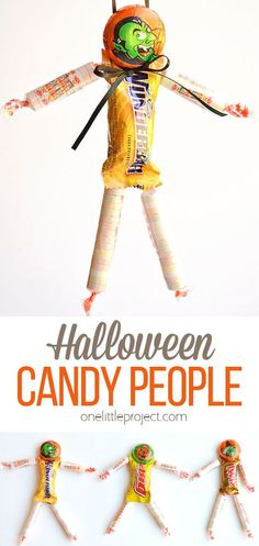 These Halloween candy people are such an adorable and EASY treat idea to send to school! You can pick and choose your favourite candy bars with enough flexibility to make them completely peanut free and school friendly. So cute! Halloween Candy, Halloween Arts And Crafts, Halloween Goodies, Easy Halloween, Halloween Activities For Toddlers, Toddler Activities, Candy People, Easy Crafts For Kids, Projects For Kids