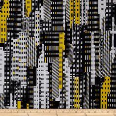 Kanvas Graphix Rainbow Skyscraper Black/Yellow Fabric