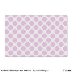 "Modern Lilac Purple and White Large Polka Dots 10"" X 15"" Tissue Paper"