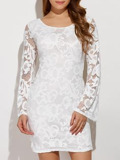 Autumn Hollow Out Criss-Cross Back Lace Dress in White | Sammydress.com