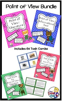 Lots of focused point of view practice for 4th and 5th graders in this 94 page bundle! Both Point of View using Literature and Informational Text are included. This unit is loaded with worksheets, posters, 2 sets of task cards and more! (TpT Resource)
