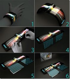 A folding computer on your wrist?  Unfurl your monitor and keyboard on this flexible technology.  Here's a tech gadget that redefines mobile.
