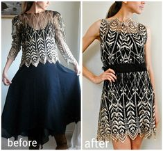 Trash To Couture: Dress Sewn Lace Cocktail. - love love love the lace and the way she used it! Refashion Dress, Diy Clothes Refashion, Diy Clothing, Sewing Clothes, Sweater Refashion, Runway Clothing, Thrift Store Diy Clothes, Refashioned Clothes, Recycled Clothing