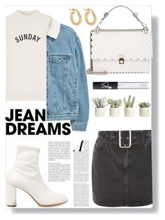 """""""Jean Dreams: Denim Skirts"""" by bxbyyniya ❤ liked on Polyvore featuring Topshop, MM6 Maison Margiela, Fendi, Allstate Floral, Anissa Kermiche and denimskirts"""