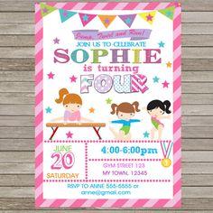 Invitación del cumpleaños de gimnasia rosa fiesta imprimible