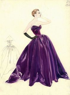 Pierre #Balmain original sketch for a ballgown in aubergine