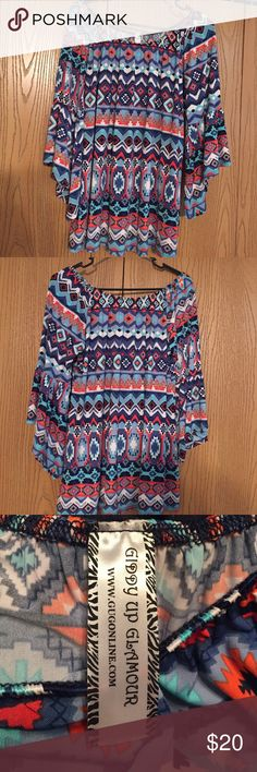 Boutique Aztec top Adorable Aztec top, only worn once. Perfect condition, smoke free home Giddy Up Glamour Tops Blouses