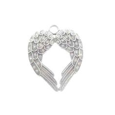 Antique Silver Pewter Angel Wing Heart Pendant, 36x44mm