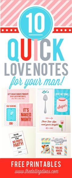 10 Printable Sexy Notes for the hubby! Free Printables!