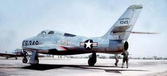Republic F-84F Thunderstreak.  Swept wing development of the straight winged F-84 A-E model Thunderjets. This was the sixth production model of the F-84 and served in numerous NATO air forces as well as the USAF and ANG. F-84F-1-RE s/n 51-1349.