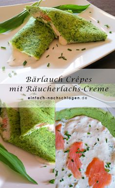garlic crepes with smoked salmon cream - just look it up! - Wild garlic crepes with smoked salmon cream -Wild garlic crepes with smoked salmon cream - just look it up! - Wild garlic crepes with smoked salmon cream - Shrimp Recipes, Salmon Recipes, Potato Recipes, Lunch Recipes, Appetizer Recipes, Diet Recipes, Appetizers, Crepe Vegan, Lacto Vegetarian Diet