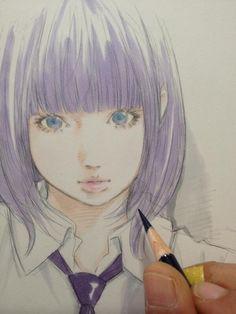 Twitter @EISAKUSAKU / 色鉛筆で主線を補正して完成。