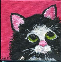 Black and white Tuxedo kitty cat original 2 x 4 mini painting on Canvas with Easel, cow kitty mini canvas art, cat mini art SharonFosterArt by SharonFosterArt on Etsy